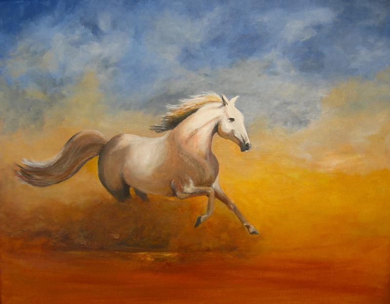 A vágtázó ló - akril festmény