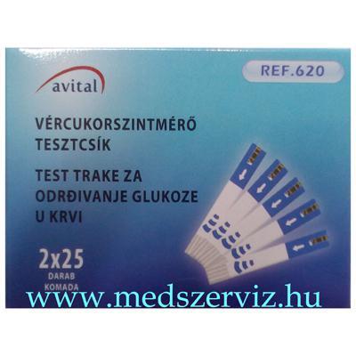 Avital vércukormérő tesztcsík 50 db