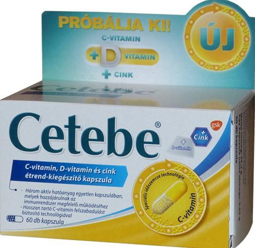 Cetebe C-vitamin + D-vitamin + Cink kapszula 60 db