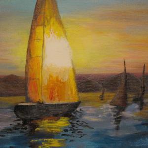 Pirkadat a tó felett - akril festmény