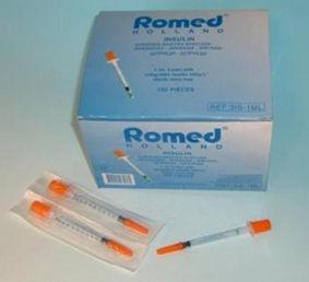 Inzulinos fecskendő tűvel 1ml