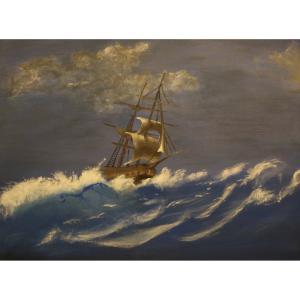 A hullámtörő vitorlás - akril festmény