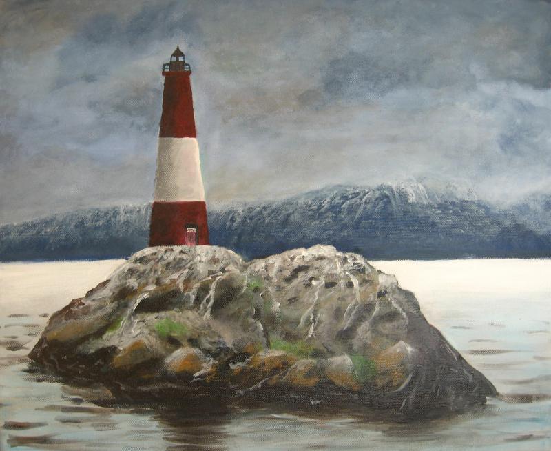Világítótorony - akril festmény