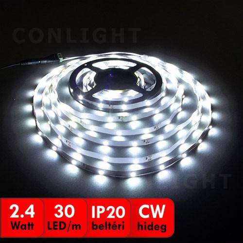 Hideg fehér beltéri IP20 30LED/m LED szalag