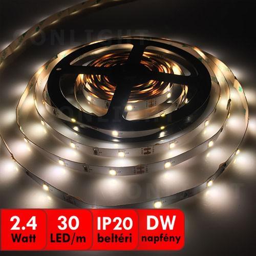 Napfény fehér beltéri IP20 30LED/m SMD 3528 LED szalag