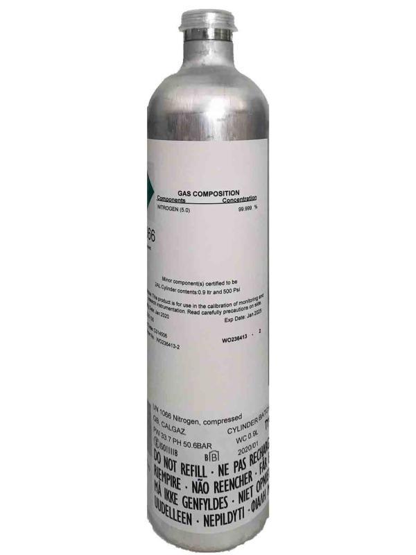 Kalibráló gáz, 34 liter N2 (99,99%) Nitrogén, Zéró Oxigén 3 pontos kalibráláshoz