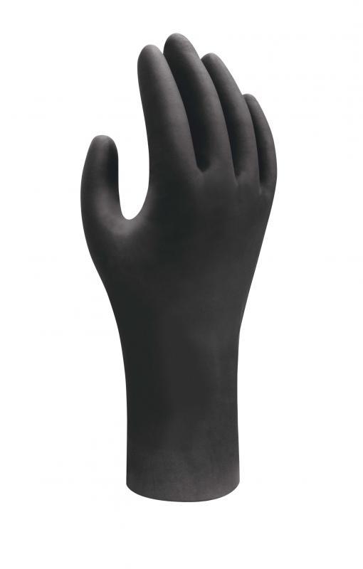SHOWA 7550 egyszerhasználatos nitril kesztyű, fekete, antisztatikus