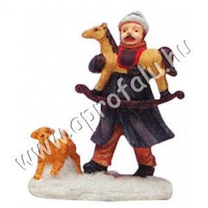 Férfi hintalóval és kutyával 6 cm