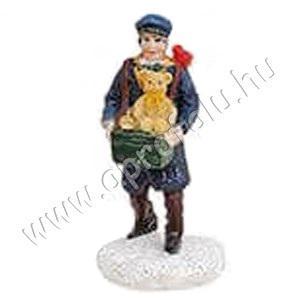 Férfi játékmackós ládikával papagájjal a  vállán 6 cm
