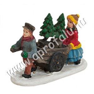 Férfi kocsit húz, fenyőt visz, felesége kiséri 6 cm