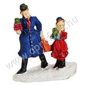 Kék ruhás férfi piros ruhás lányával 6 cm