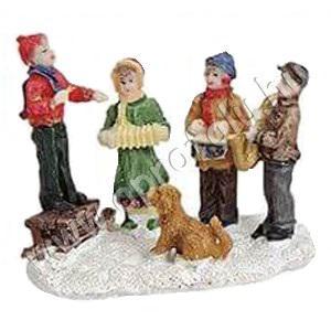 Gyerek zenész csoport kutyával