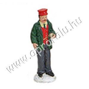 Jegyellenőr piros kalapban 5 cm
