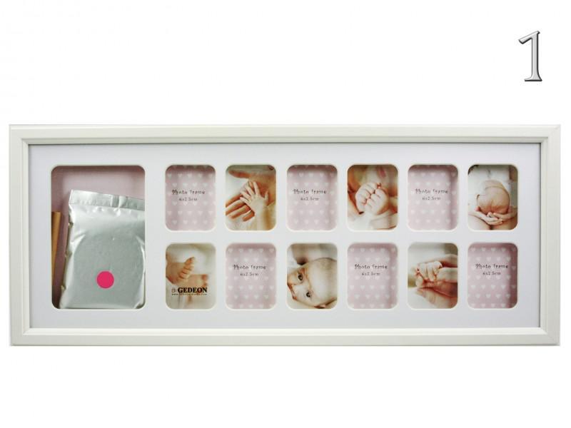 12 db-os fényképtartó + baba láb vagy kéznyom készítő szett