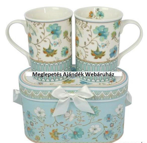 2 db virág mintás teás bögre díszdobozban