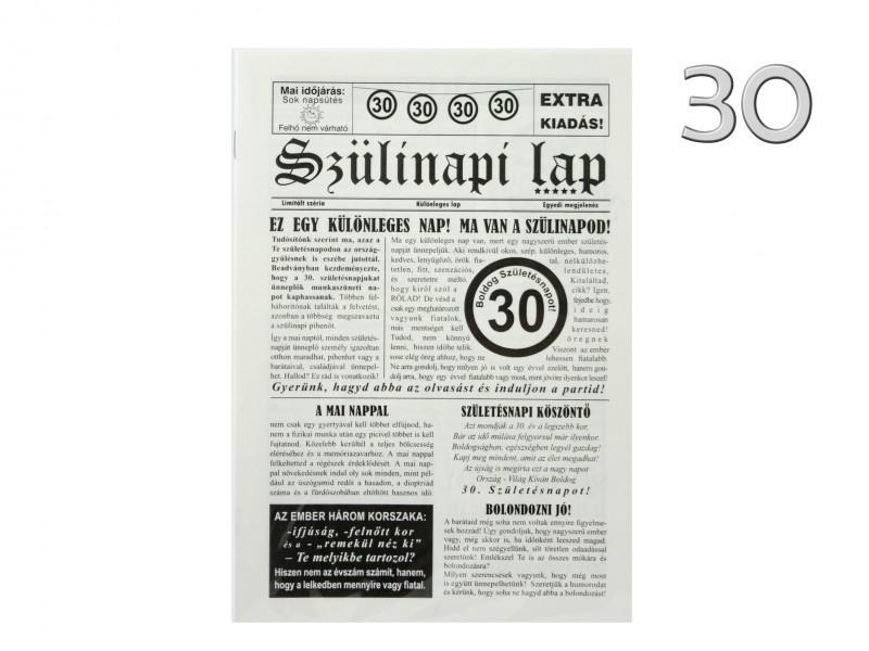 30. Születésnapi vicces újság 8 oldalas 16x23 cm