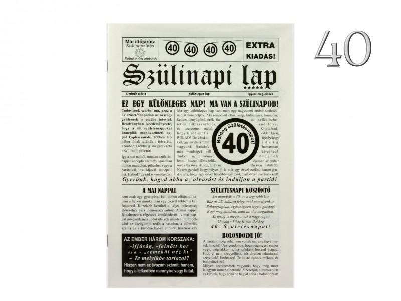 40. Születésnapi vicces újság 8 oldalas 16x23 cm
