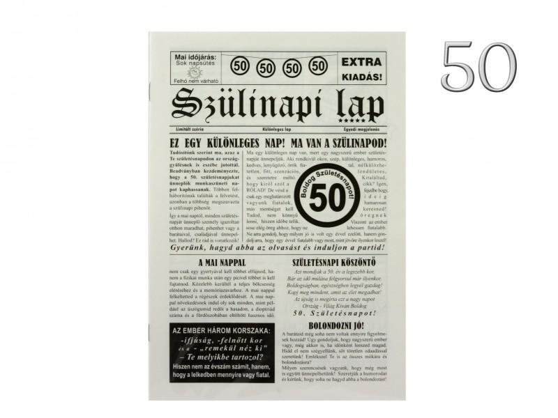 50. Születésnapi vicces újság 8 oldalas 16x23 cm