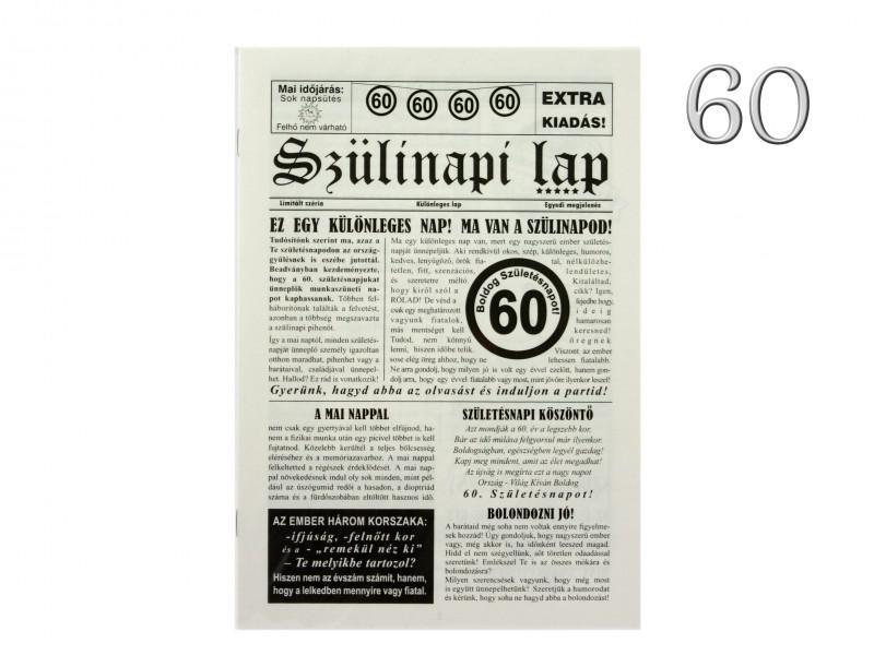 60. Születésnapi vicces újság 8 oldalas 16x23 cm másolata