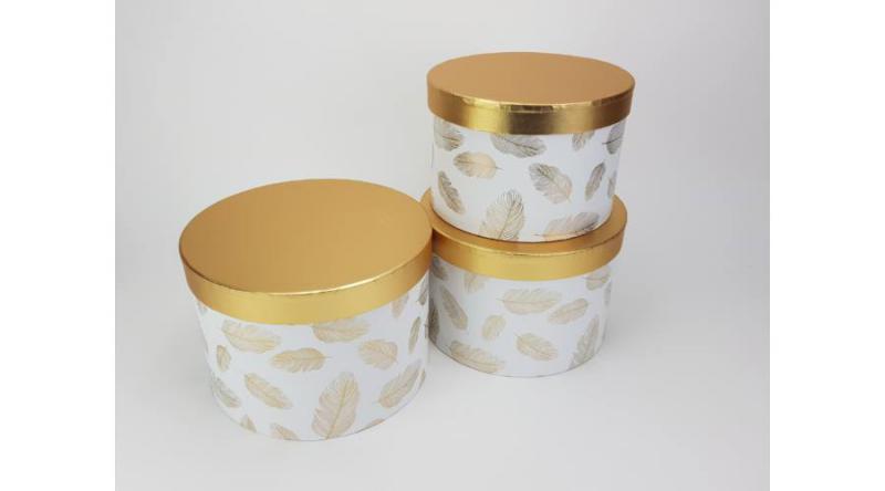 Aranyfedeles dobozok - madártoll mintás fehér vagy fekete 3 db / szett