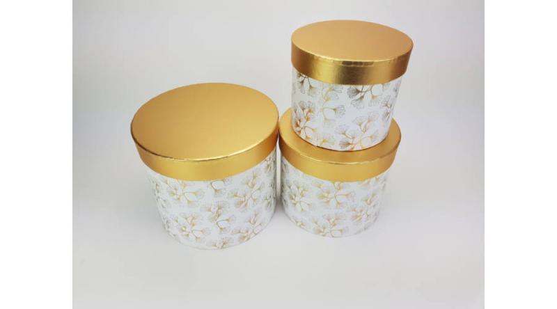 Aranyfedeles dobozok - virágmintás fehér vagy fekete 3 db / szett