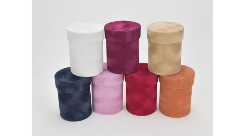 Bársony borítású kicsi papírdoboz több színben