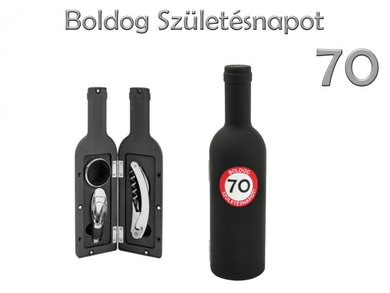 Boros szett 3 db-os Boldog 70. Születésnapot 23 cm