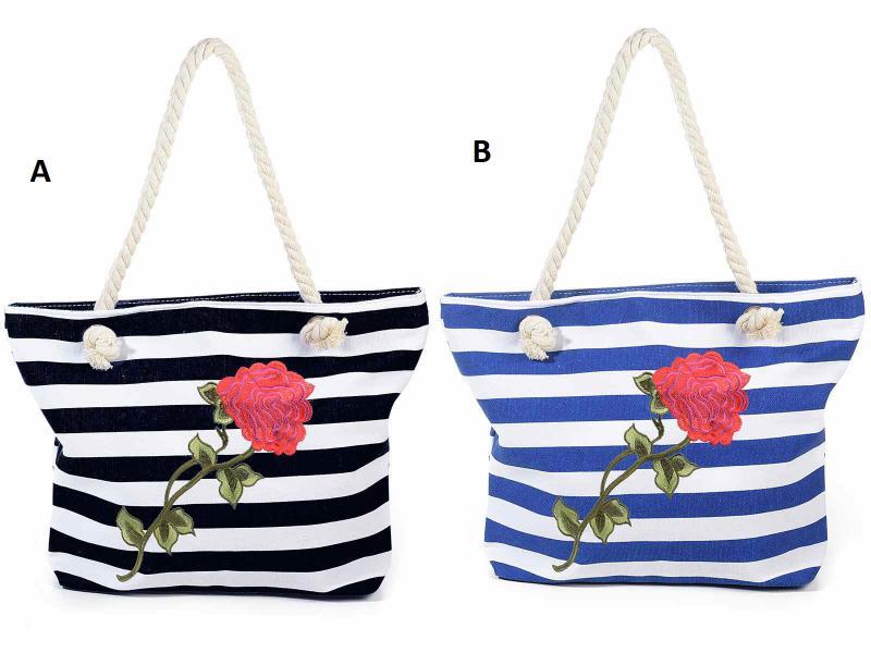 Csíkos ( matróz ) táska hímzett rózsával, kötélpánttal, 2 féle színben