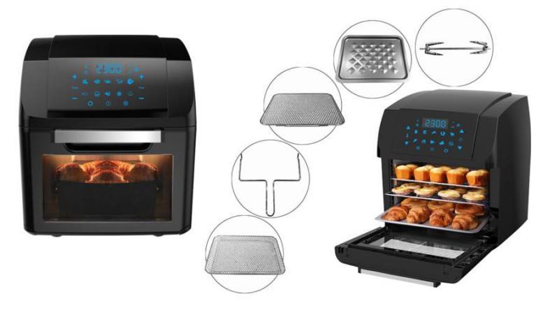 Digitális meleglevegős sütő olaj nélküli sütéshez