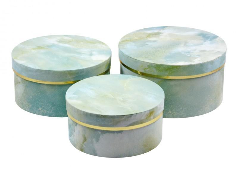Díszdoboz szett kerek márványos zöld 3 db-os