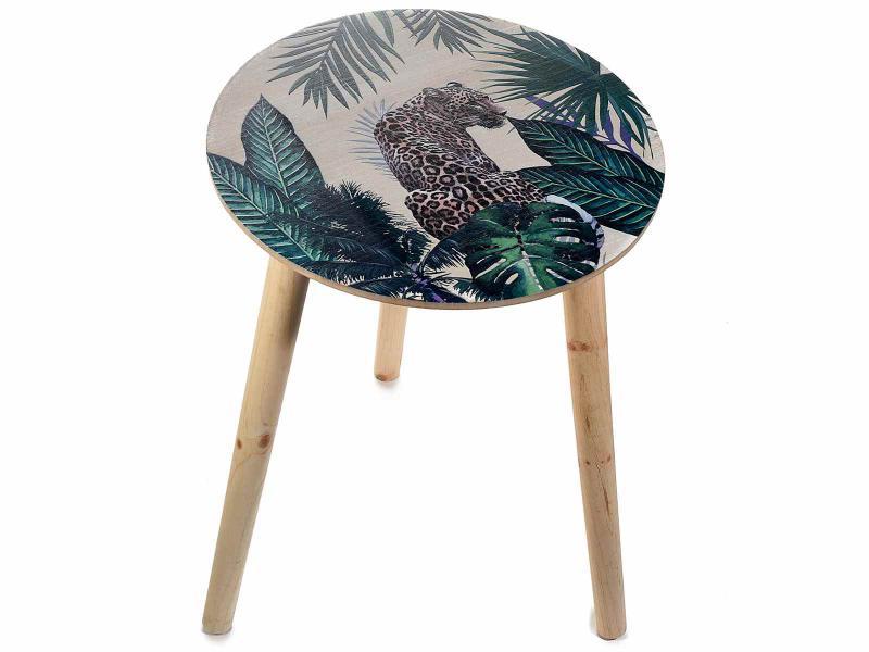 Dzsungel mintás kerek fa asztal