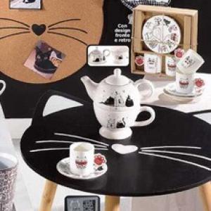 Cicás, macska alakú kerek fa asztal SZUPER AKCIÓ