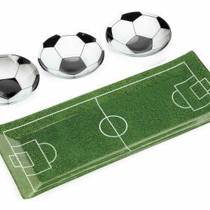 Futball-focipálya üveg tál és kínáló szett 4 db-os