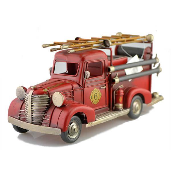 Fém tűzoltó autó létrával 31 cm - retro, makett