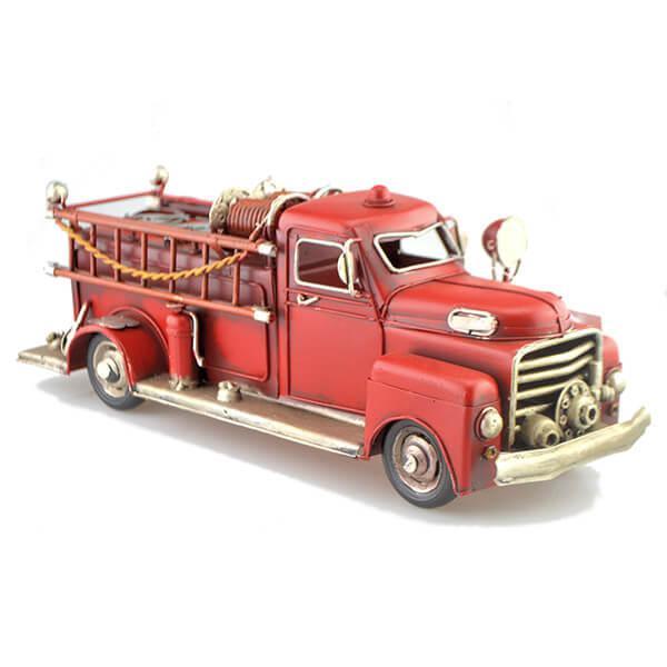 Fém tűzoltó autó létrával 32 cm - retro, makett