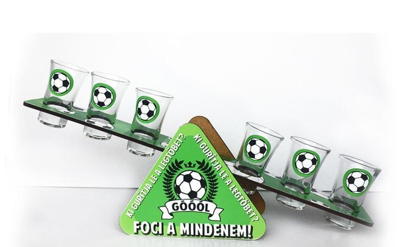 Futball-foci libikóka 6 db pálinkás üvegpohárral