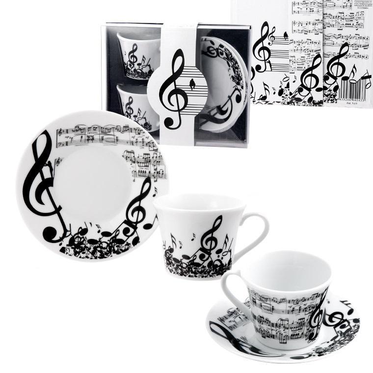 Hangjegyes, zenés 2 db-os szett kávés csészeszett