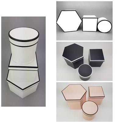 Hatszög & négyszög & kör alakú dobozok több színben 3 db / szett