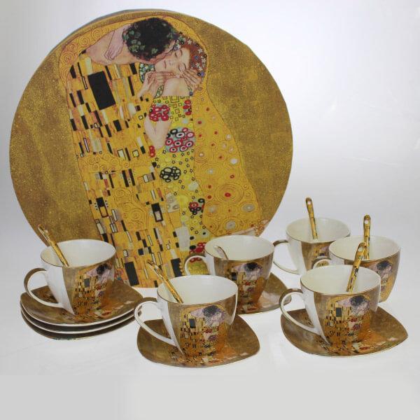 Klimt 18 db-os kávés csésze + alátét + kiskanál díszdobozban