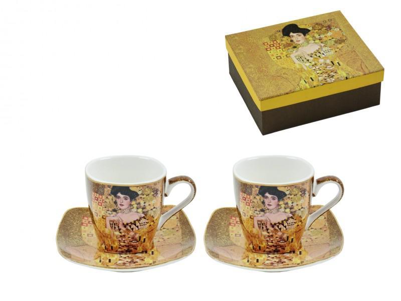 Klimt, Adele mintájú arany kávés csésze + alátét 2-2 db-os szett díszdobozban