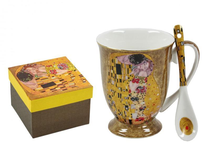 Klimt arany vagy fekete bögre + kiskanál 2,8 dl díszdobozban