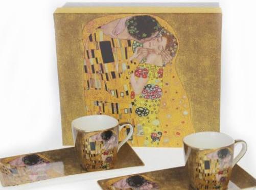 Klimt arany vagy fekete kávés csésze + alátét 2 db díszdobozban, süteményes