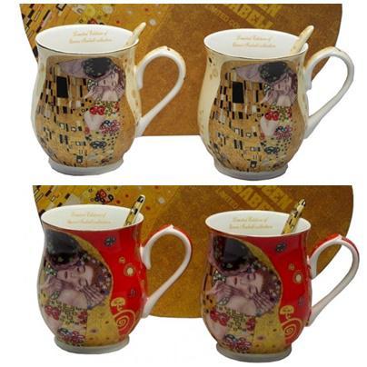 Klimt porcelán bögre kanállal 350 ml - 2 személyes készlet - szív dobozos, 2 féle színben