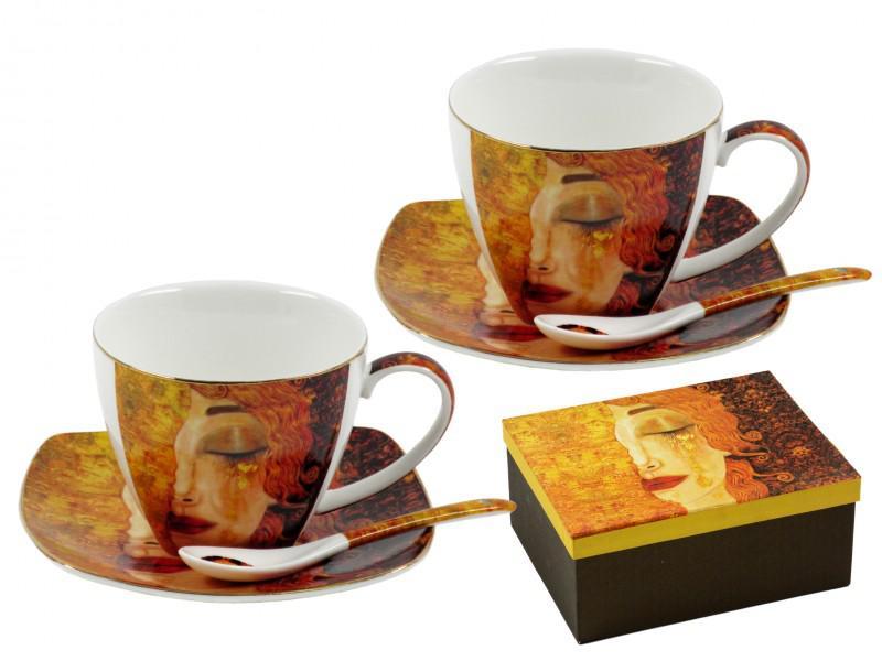 Klimt teás csésze + alátét + kiskanál 2 db-os szett díszdobozban