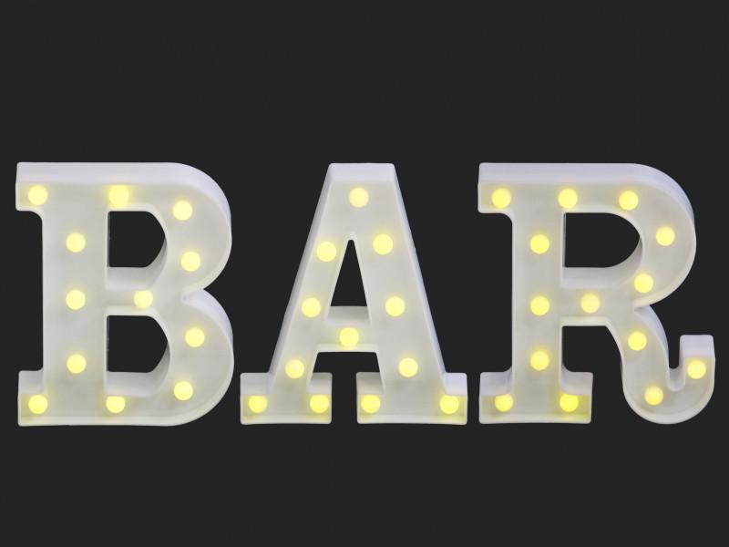 LEDes fali világító BAR betűk 3 db 22 cm