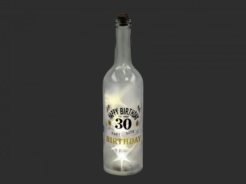 LEDes világító boros üveg 30. születésnapra