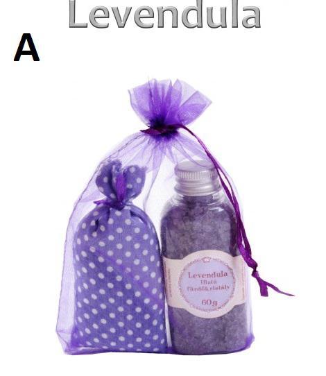 Levendula illatú fürdőkristály vagy szappan illatosító zsákkal, szettben