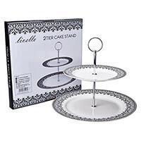 Livello fekete-fehér porcelán emeletes süteményes tál