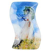 Monet hullámos üvegtál - 23x15 cm - Pipacsmező - ajándék könyvjelzővel