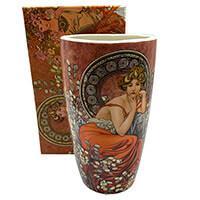 Mucha porcelán váza - 22,5 cm - Topáz